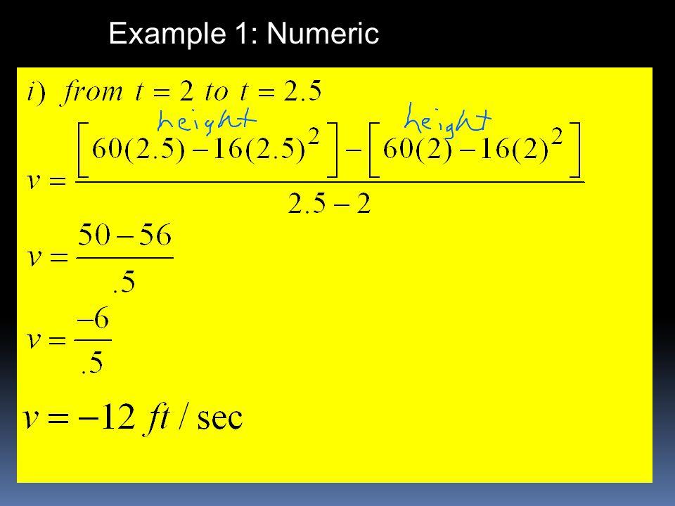 Example 1: Numeric