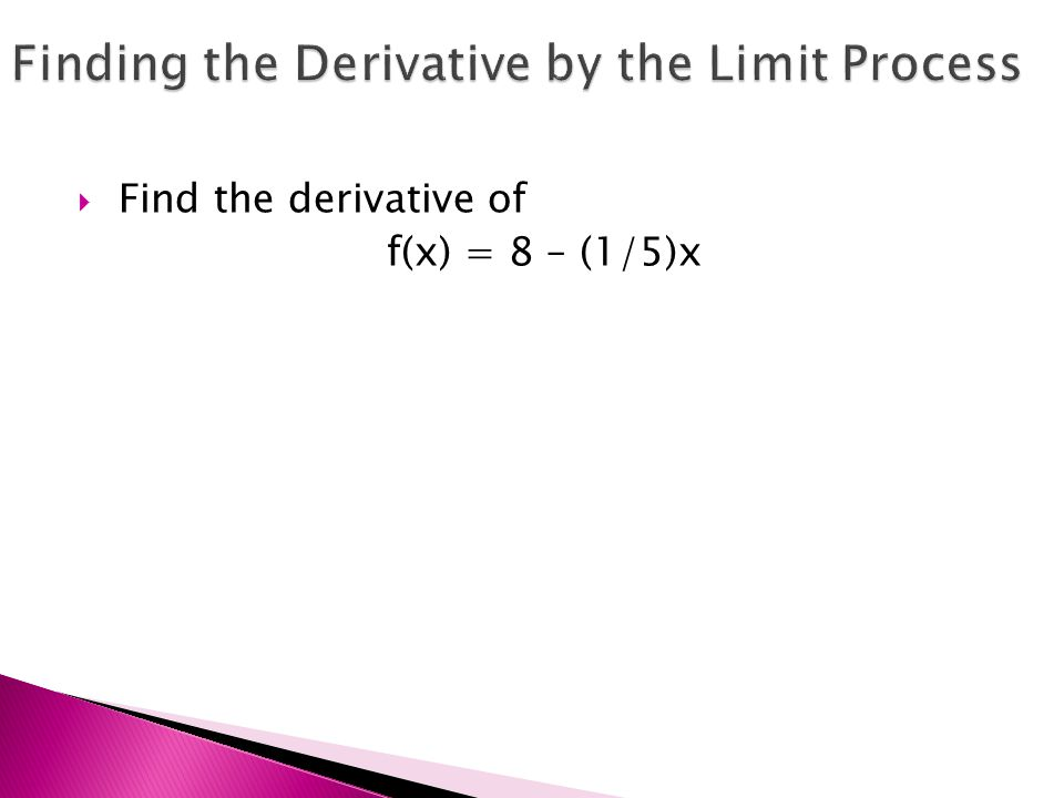  Find the derivative of f(x) = 8 – (1/5)x