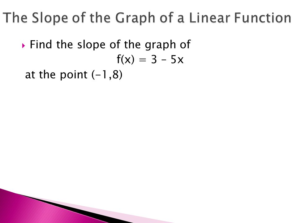  Find the slope of the graph of f(x) = 3 – 5x at the point (-1,8)