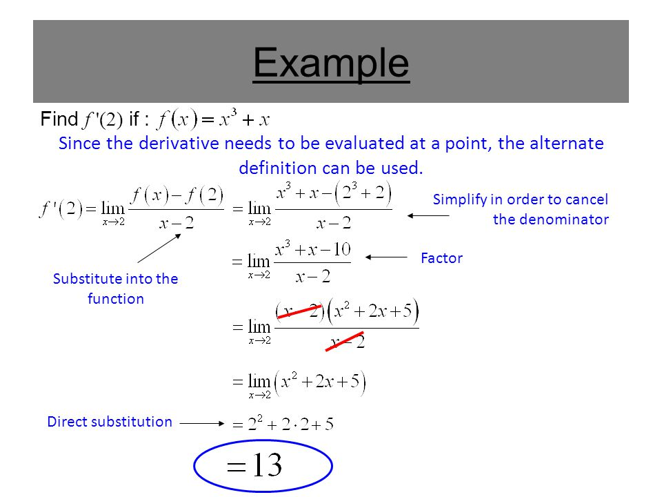 Example Find f '(2) if : Since the derivative needs to be evaluated at a point, the alternate definition can be used. Substitute into the function Sim