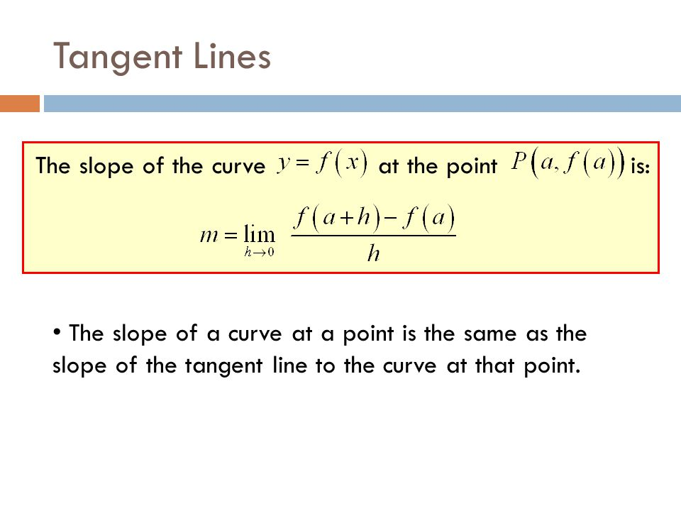 Tangent Lines The slope of the curve at the point is: The slope of a curve at a point is the same as the slope of the tangent line to the curve at tha