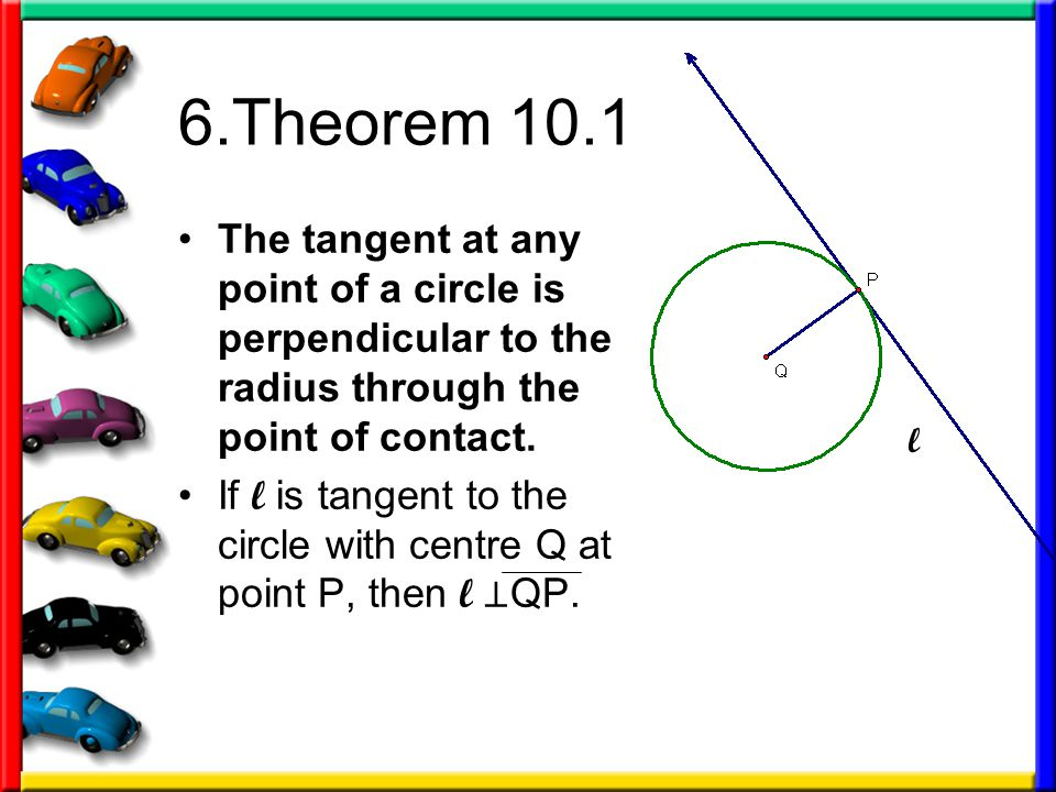 6.Theorem 10.1 The tangent at any point of a circle is perpendicular to the radius through the point of contact. If l is tangent to the circle with ce
