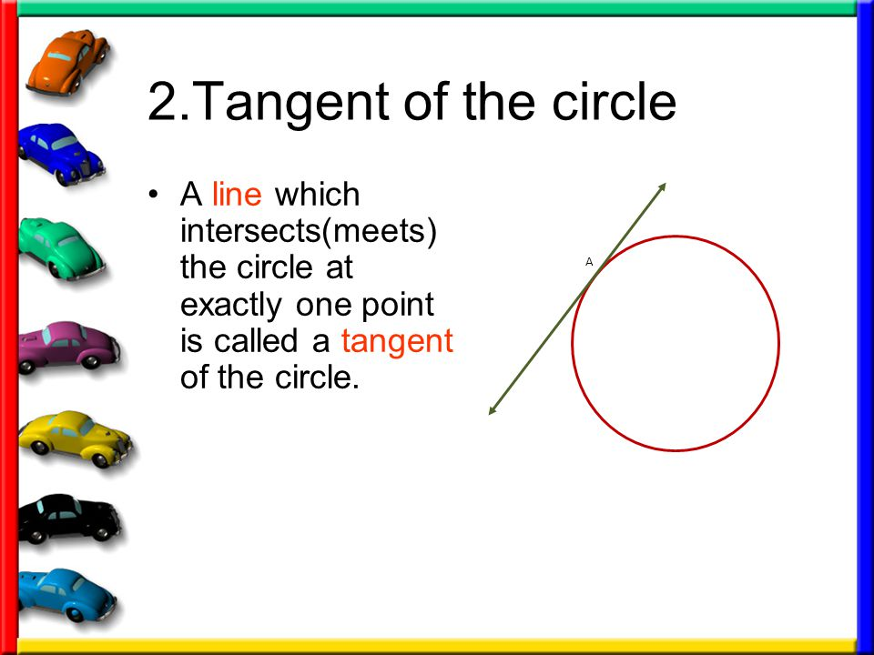 2.Tangent of the circle A line which intersects(meets) the circle at exactly one point is called a tangent of the circle. A