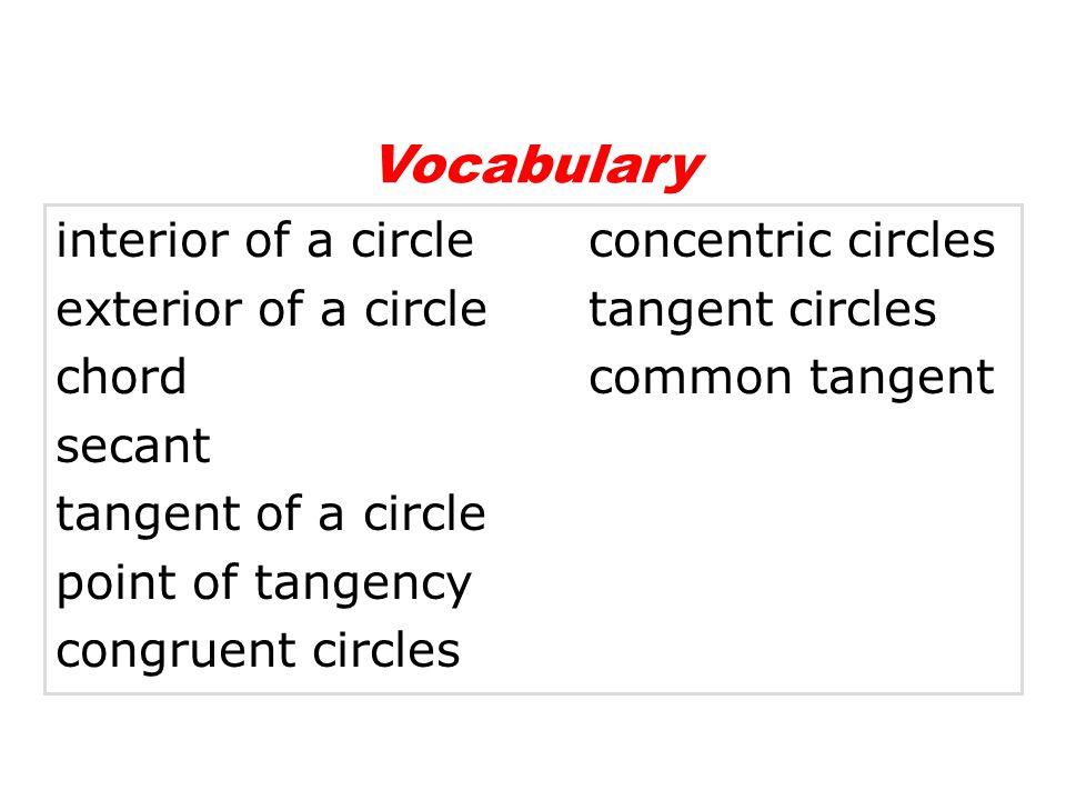 interior of a circleconcentric circles exterior of a circletangent circles chordcommon tangent secant tangent of a circle point of tangency congruent circles Vocabulary