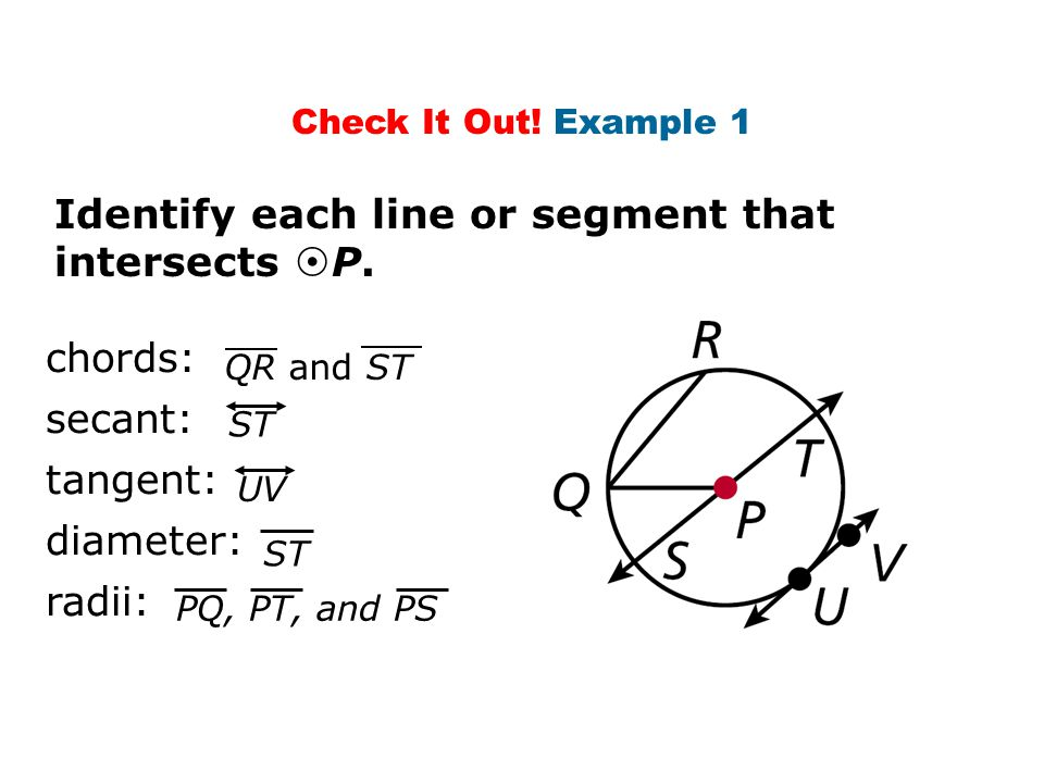 Check It Out! Example 1 Identify each line or segment that intersects  P. chords: secant: tangent: diameter: radii: QR and ST ST PQ, PT, and PS UV ST