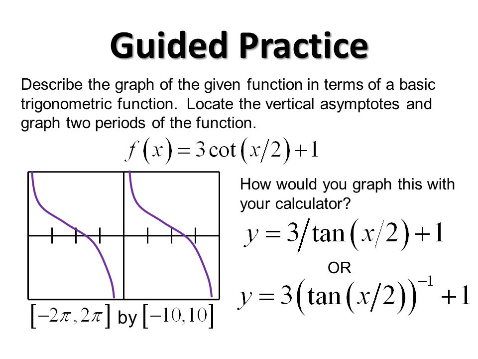 Guided Practice Describe the graph of the given function in terms of a basic trigonometric function.