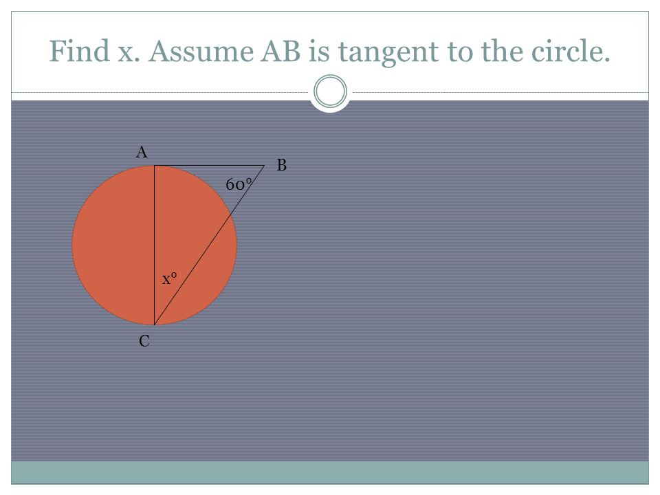 Find x. Assume AB is tangent to the circle. B A x° 60° C
