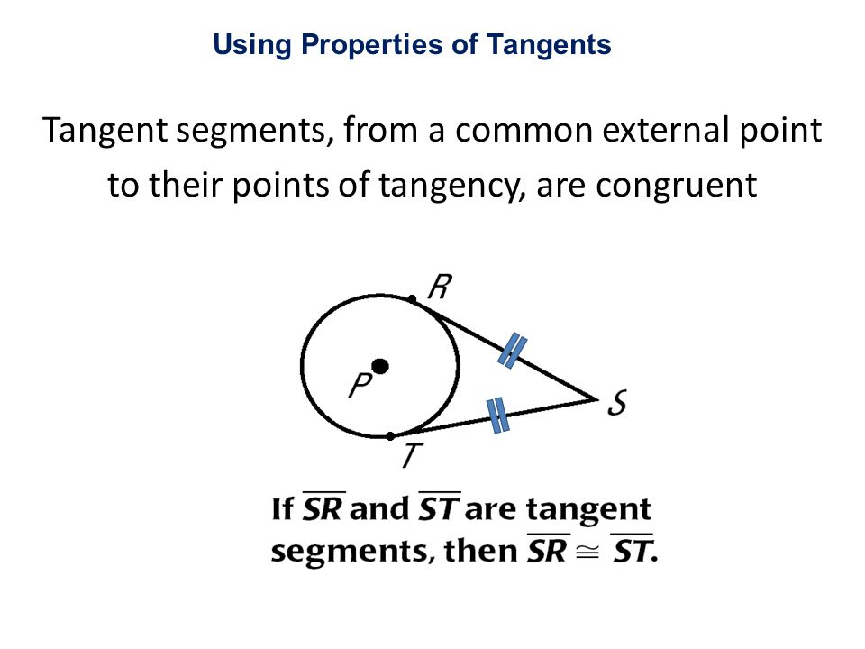 Tangent segments, from a common external point to their points of tangency, are congruent Using Properties of Tangents ● ●