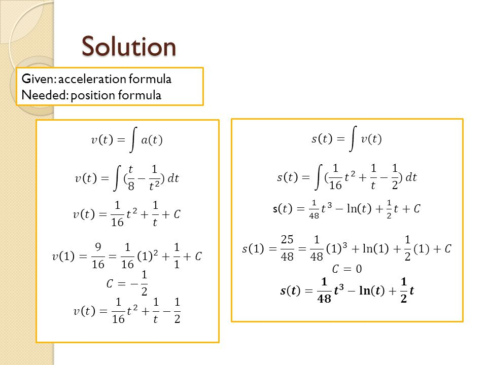 Solution Given: acceleration formula Needed: position formula