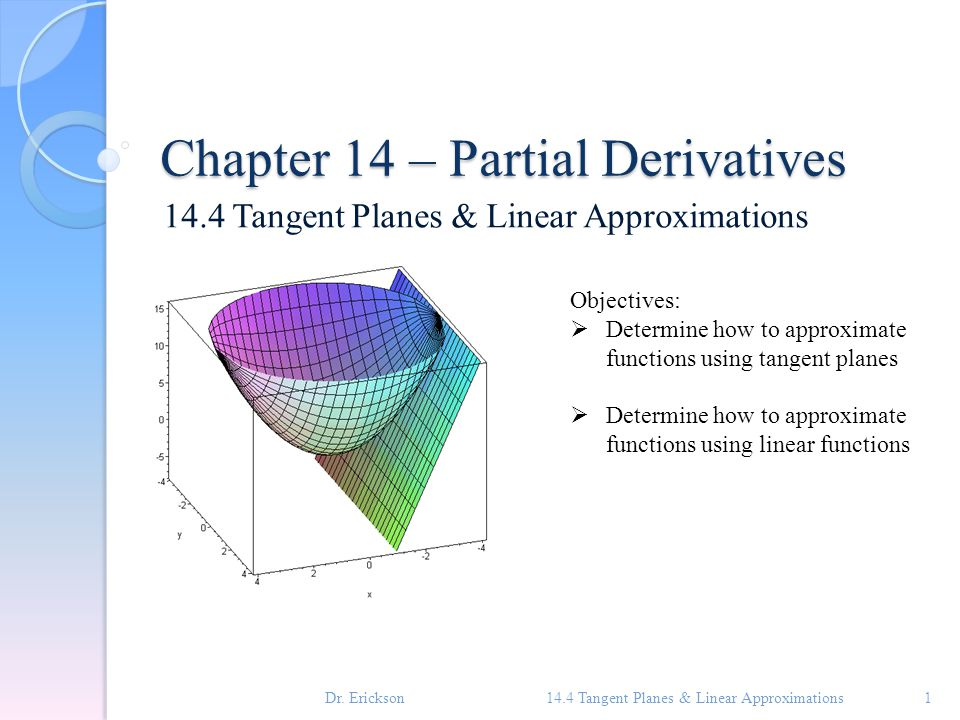 Definition – Tangent Plane Suppose a surface S has equation z = f(x, y), where f has continuous first partial derivatives.