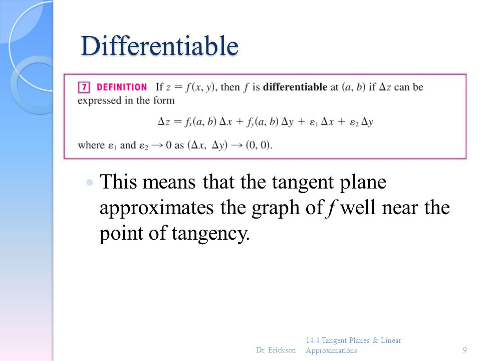 Theorem 14.4 Tangent Planes & Linear Approximations10Dr. Erickson