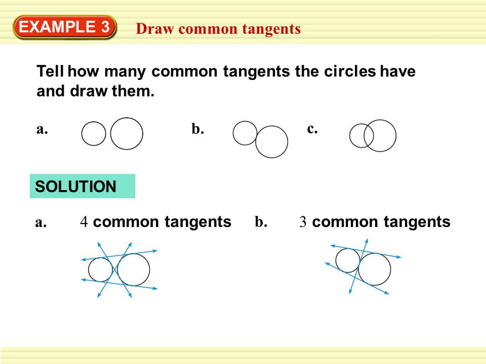 EXAMPLE 3 Draw common tangents Tell how many common tangents the circles have and draw them.