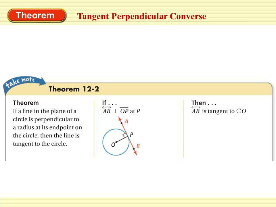 Theorem Tangent Perpendicular Converse