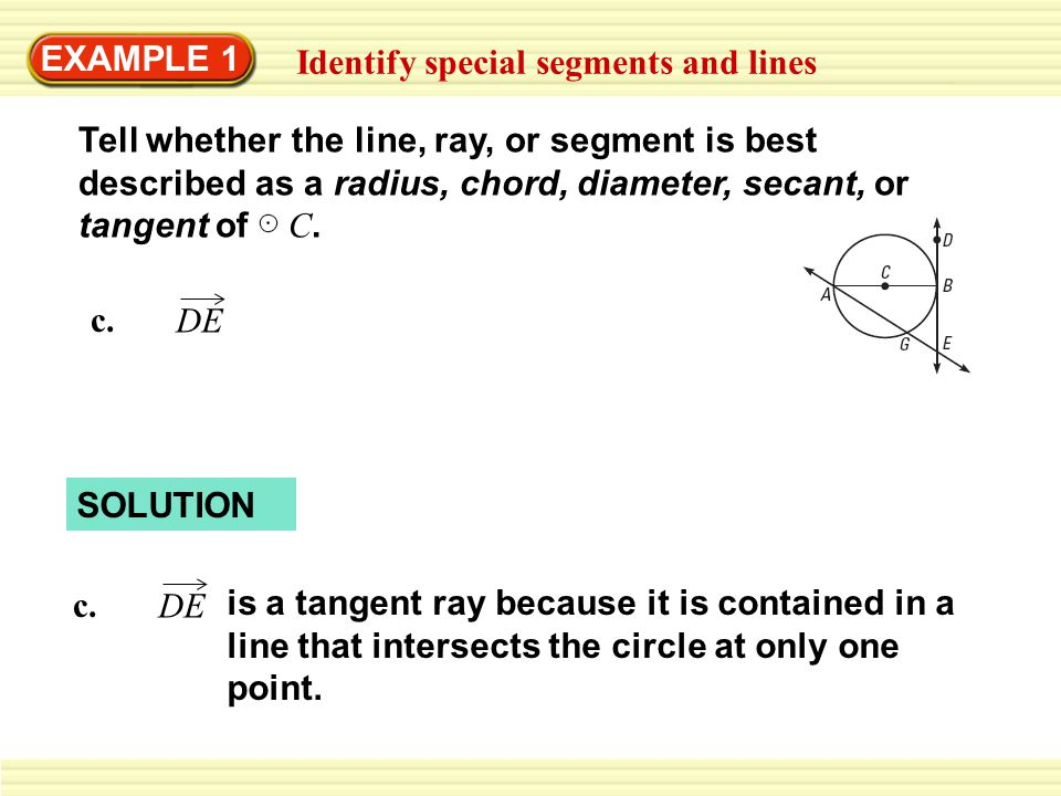EXAMPLE 1 Identify special segments and lines c.