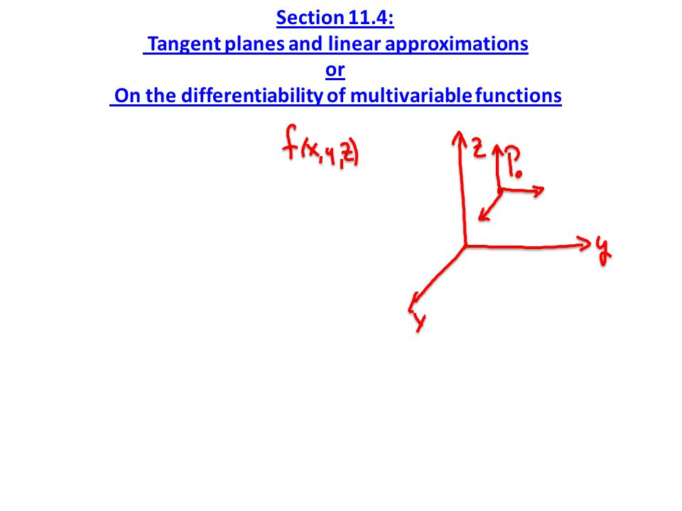 Section 11.4: Tangent planes and linear approximations or On the differentiability of multivariable functions