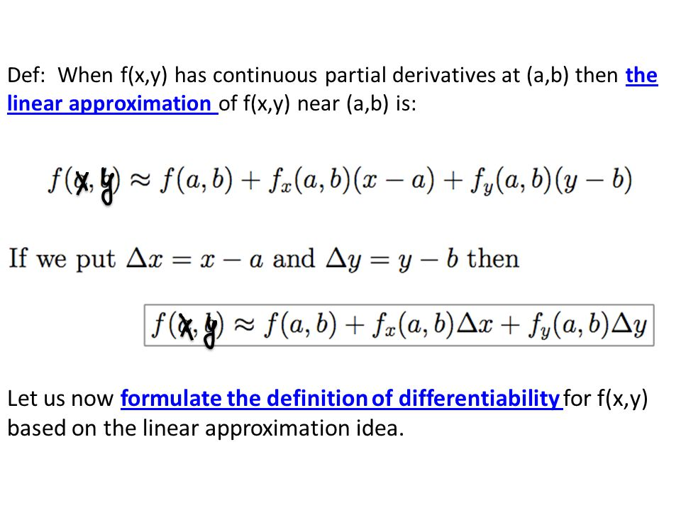 Let us now formulate the definition of differentiability for f(x,y) based on the linear approximation idea.