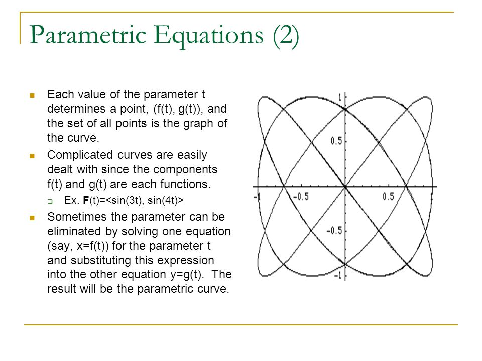 Parametric Equations (2) Each value of the parameter t determines a point, (f(t), g(t)), and the set of all points is the graph of the curve.