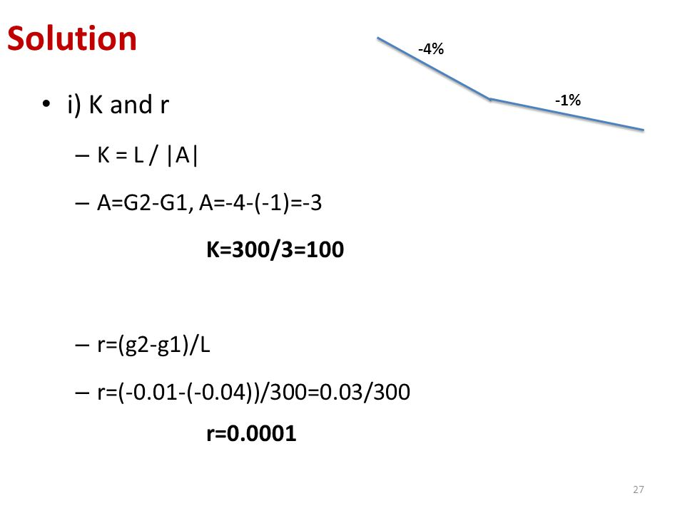 i) K and r – K = L /  A  – A=G2-G1, A=-4-(-1)=-3 K=300/3=100 – r=(g2-g1)/L – r=(-0.01-(-0.04))/300=0.03/300 r=0.0001 27 Solution -4% -1%