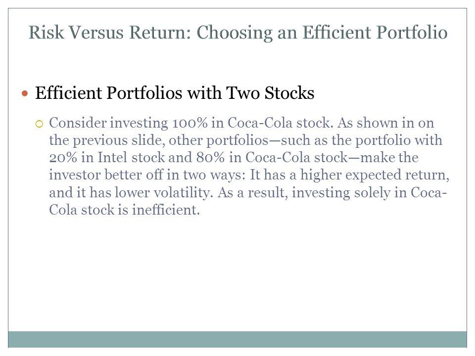 Risk Versus Return: Choosing an Efficient Portfolio Efficient Portfolios with Two Stocks  Consider investing 100% in Coca-Cola stock.