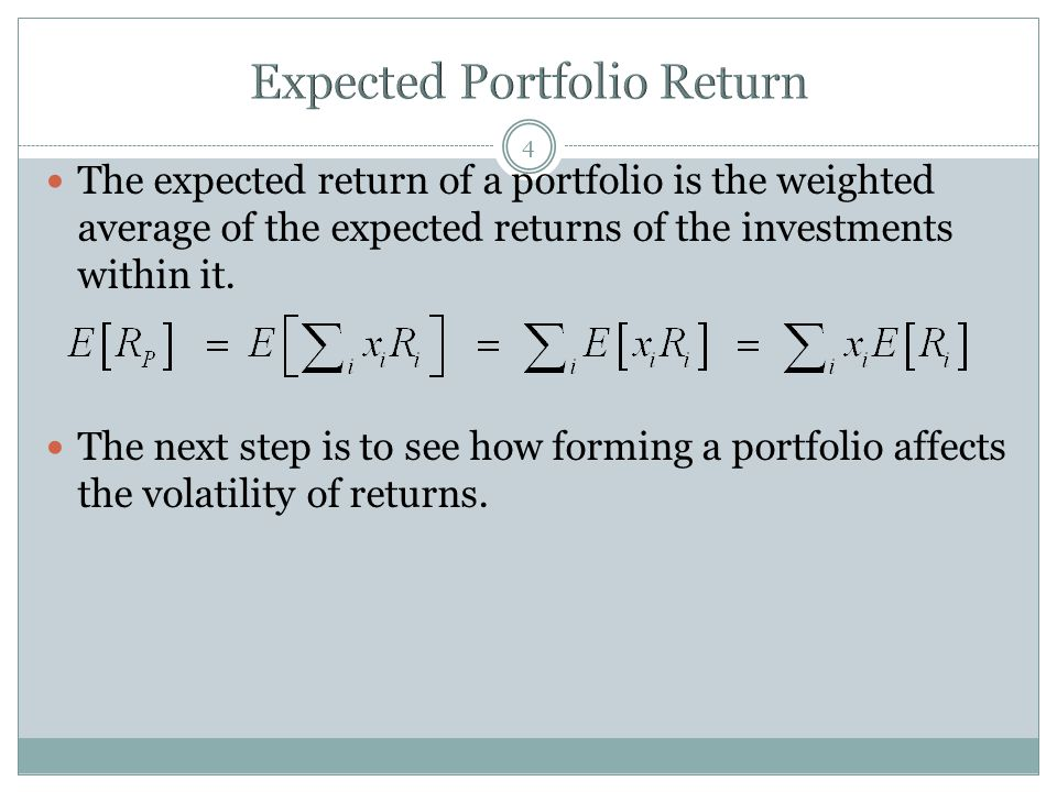 The expected return of a portfolio is the weighted average of the expected returns of the investments within it.
