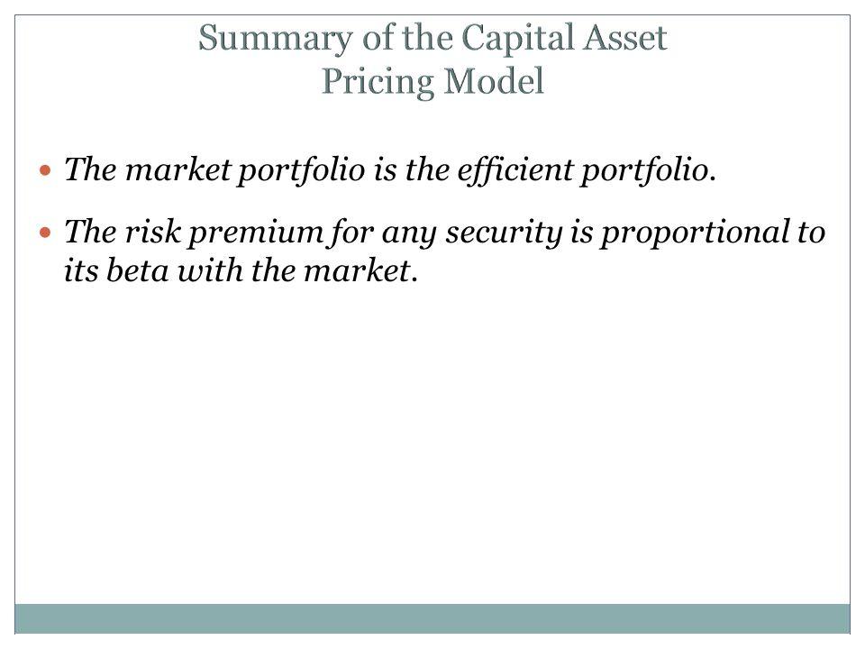 Summary of the Capital Asset Pricing Model The market portfolio is the efficient portfolio.