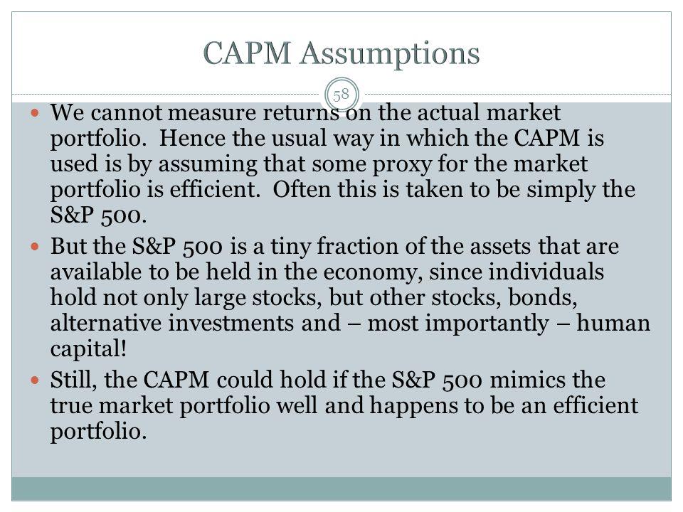 We cannot measure returns on the actual market portfolio.