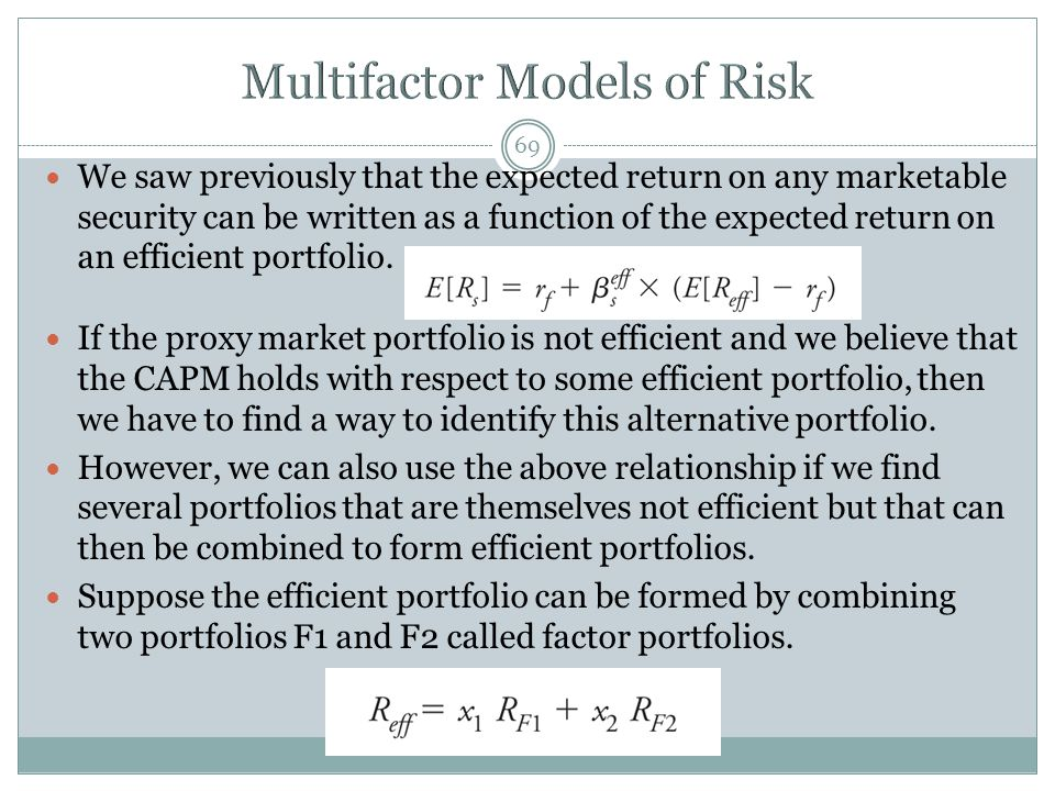 69 We saw previously that the expected return on any marketable security can be written as a function of the expected return on an efficient portfolio.