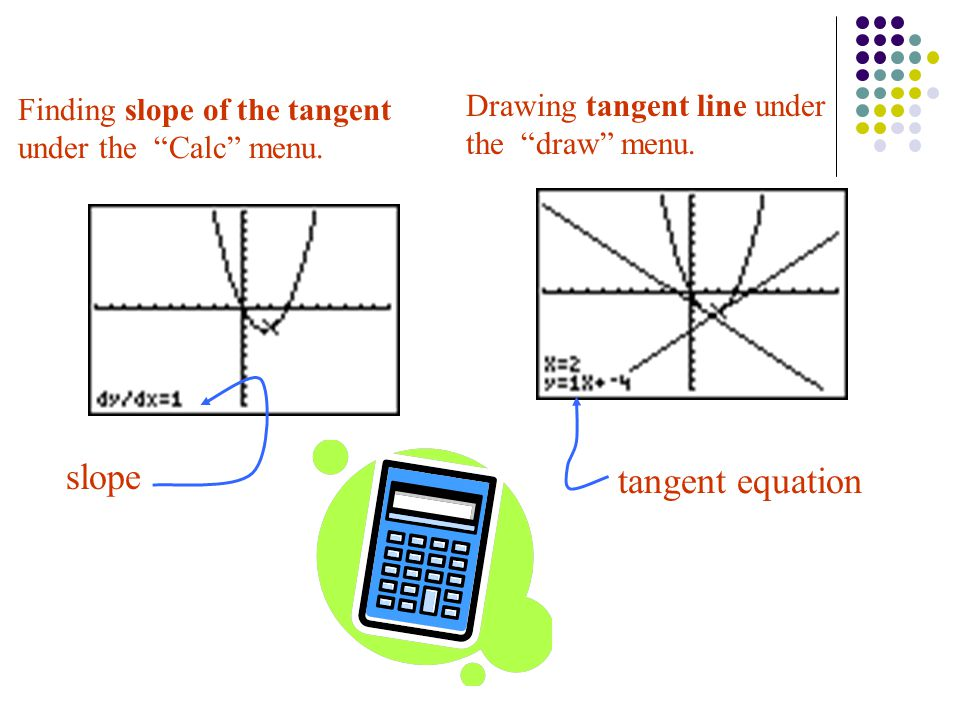 slope tangent equation Drawing tangent line under the draw menu.
