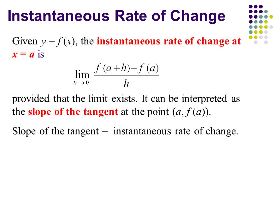 Instantaneous Rate of Change Given y = f (x), the instantaneous rate of change at x = a is provided that the limit exists.