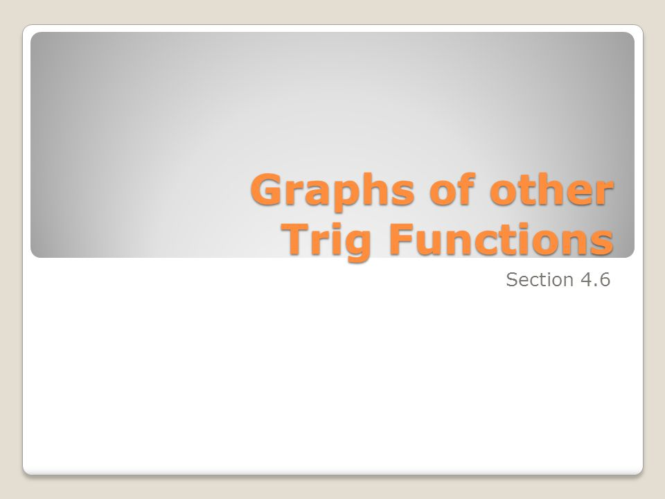 Graphs of other Trig Functions Section 4.6