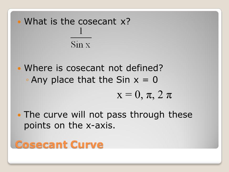 Graph the following curves: y = -3 Sec (x + ) y = -2 Csc (x - ) y = ½ Cot (x – )