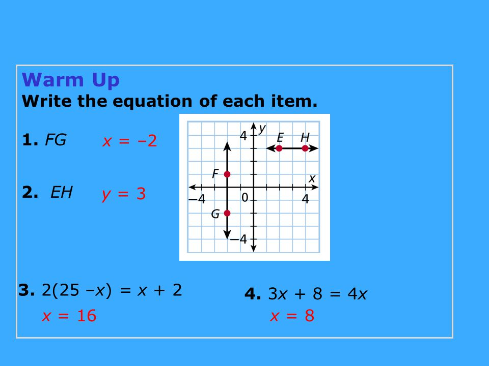 Warm Up Write the equation of each item. 1. FG 2. EH 3. 2(25 –x) = x + 2 4. 3x + 8 = 4x x = –2 y = 3 x = 16x = 8