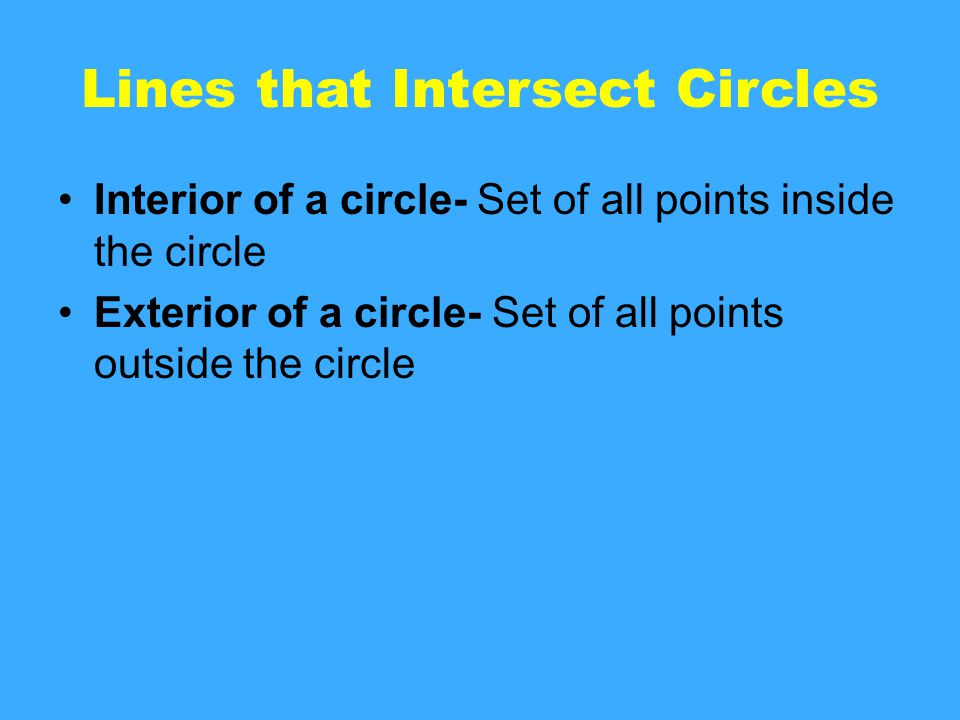 Lines that Intersect Circles Interior of a circle- Set of all points inside the circle Exterior of a circle- Set of all points outside the circle