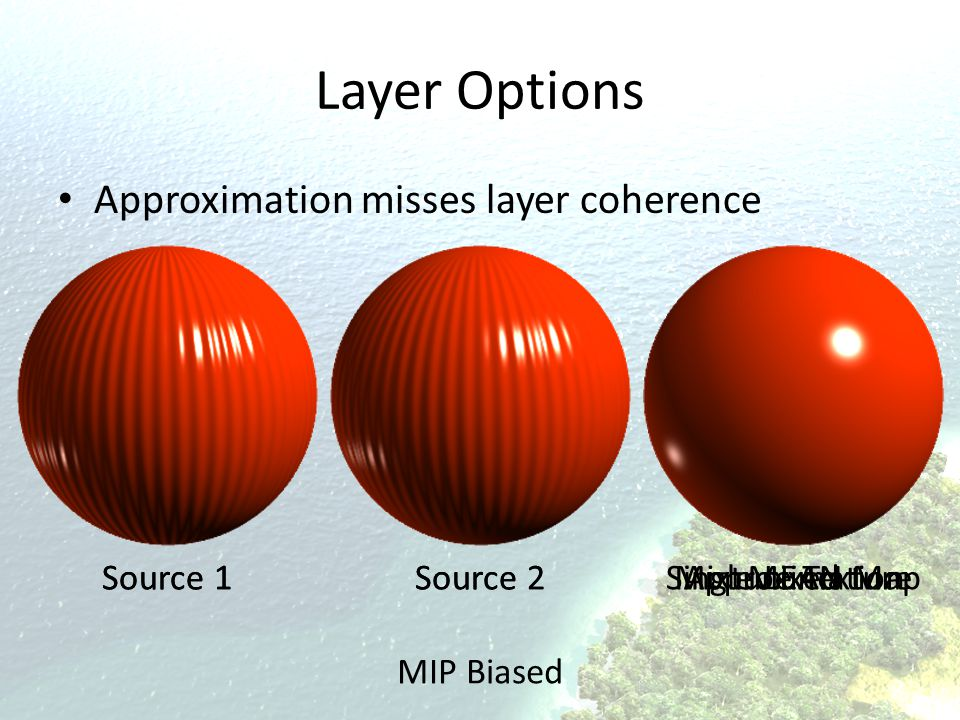 Single LEAN MapMixture TextureApproximationMixedSource 2 Source 1 Layer Options Approximation misses layer coherence MIP Biased