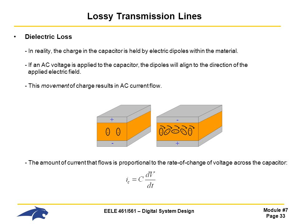 EELE 461/561 – Digital System Design Module #7 Page 33 Lossy Transmission Lines Dielectric Loss - In reality, the charge in the capacitor is held by electric dipoles within the material.
