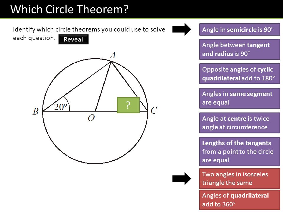 Which Circle Theorem.Identify which circle theorems you could use to solve each question.