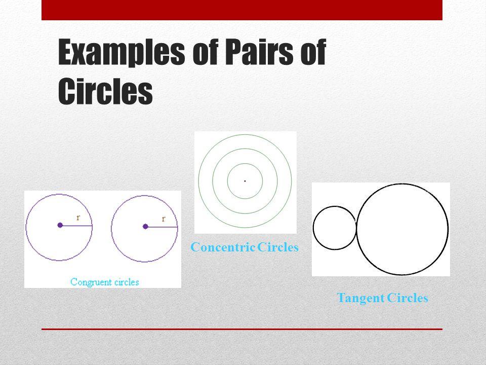 Examples of Pairs of Circles Concentric Circles Tangent Circles