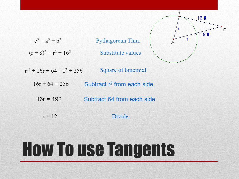 How To use Tangents (r + 8) 2 = r 2 + 16 2 Pythagorean Thm.