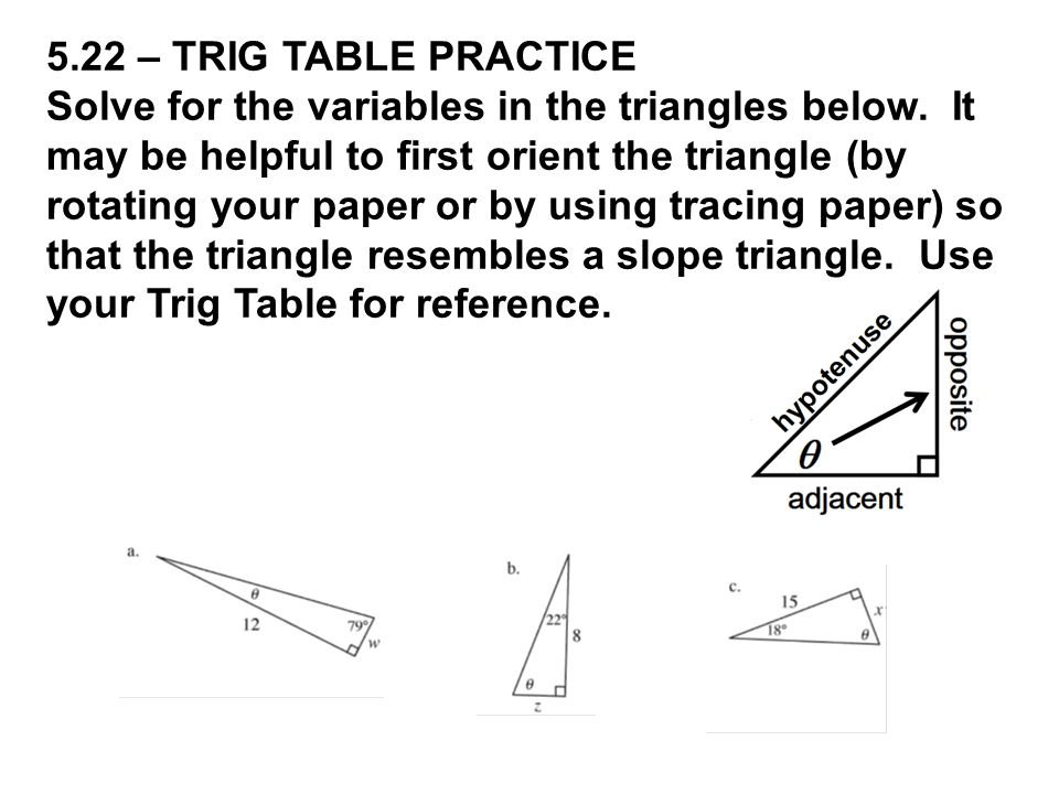 5.22 – TRIG TABLE PRACTICE Solve for the variables in the triangles below.
