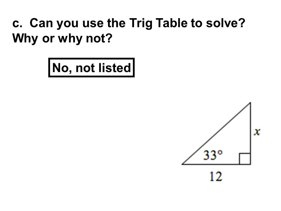 c. Can you use the Trig Table to solve Why or why not No, not listed