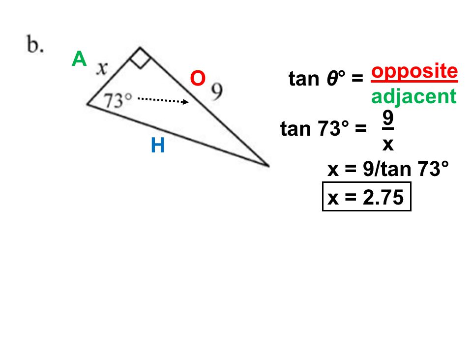 O A tan 73° = 9x9x x = 9/tan 73° x = 2.75 opposite adjacent tan θ° = H
