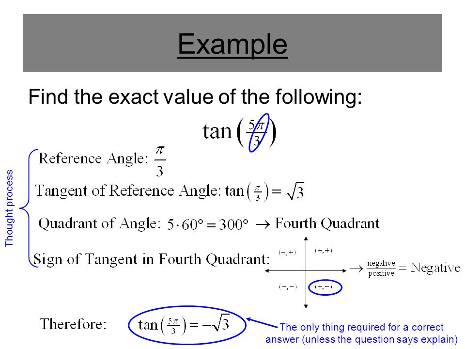 Example Find the exact value of the following: Thought process The only thing required for a correct answer (unless the question says explain)