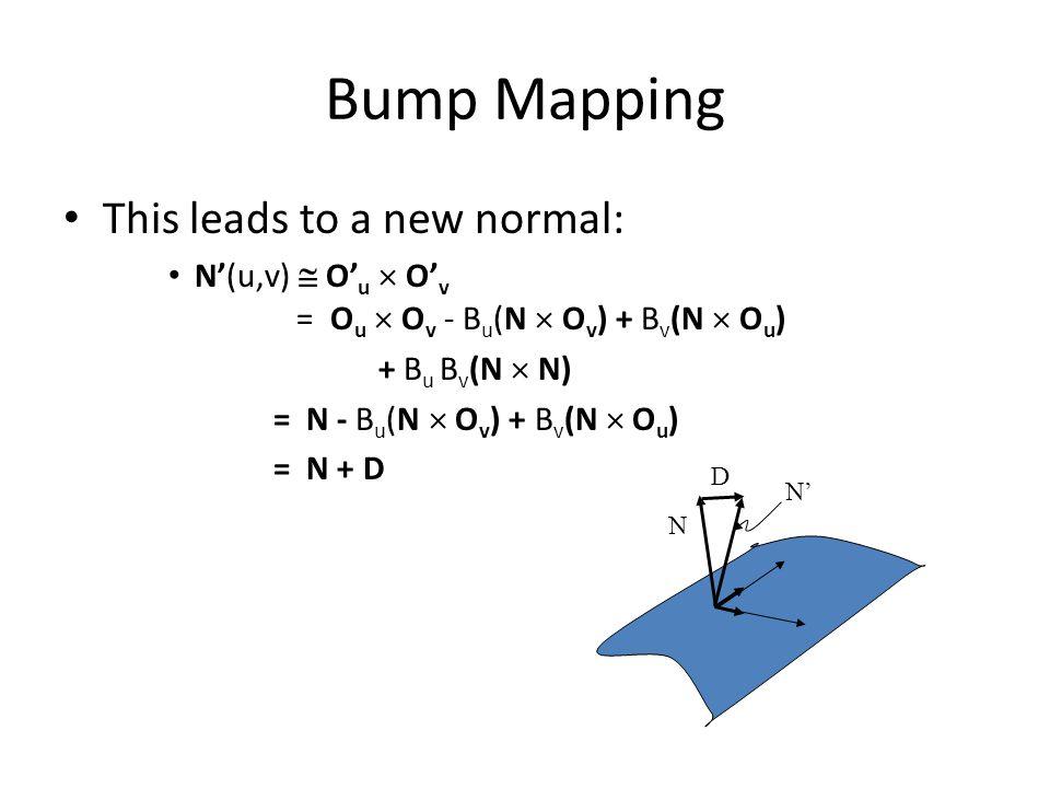 Bump Mapping This leads to a new normal: N'(u,v)  O' u  O' v = O u  O v - B u (N  O v ) + B v (N  O u ) + B u B v (N  N) = N - B u (N  O v ) +