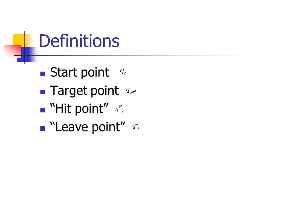 """Definitions Start point Target point """"Hit point"""" """"Leave point"""""""