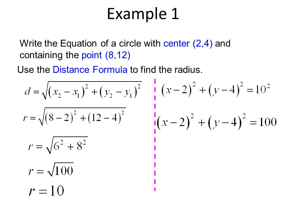 Example 2 Write the Equation of a circle with the ends of a diameter at: (2, 16) and (–2, –2) 1.Use the Midpoint Formula to find the center.