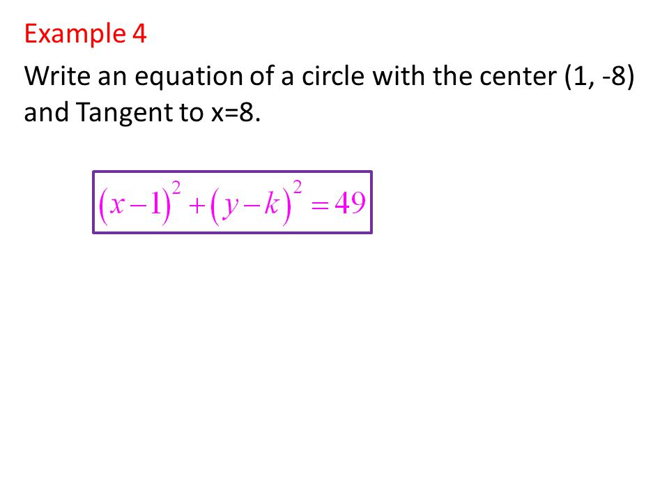 Example 5 Write the equation of the line that is tangent to the given circle at the given point.