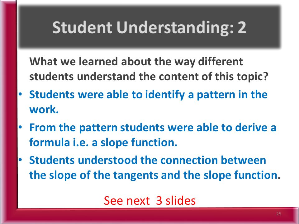 What we learned about the way different students understand the content of this topic.