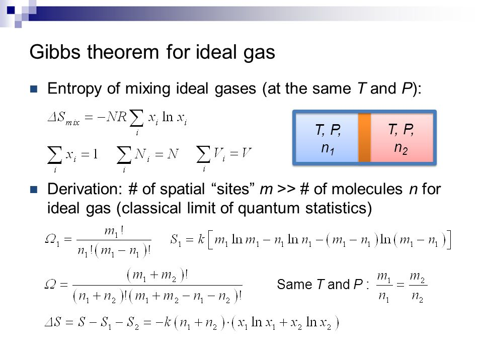 """Gibbs theorem for ideal gas Entropy of mixing ideal gases (at the same T and P): Derivation: # of spatial """"sites"""" m >> # of molecules n for ideal gas"""