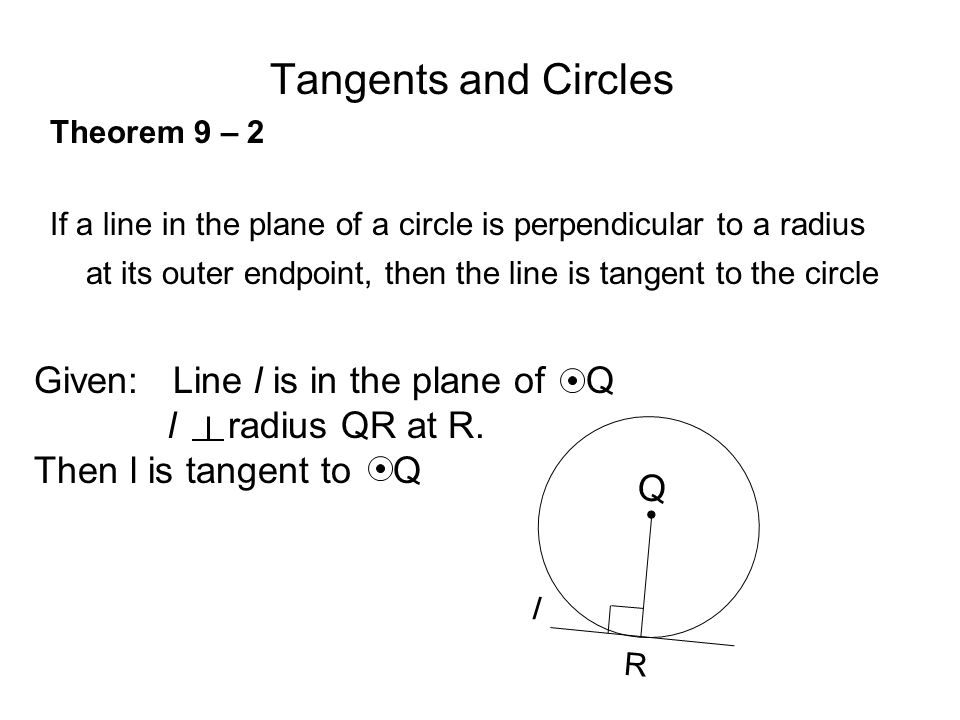 Tangents and Circles Theorem 9 – 2 If a line in the plane of a circle is perpendicular to a radius at its outer endpoint, then the line is tangent to the circle R Q l Given: Line l is in the plane of Q l radius QR at R.