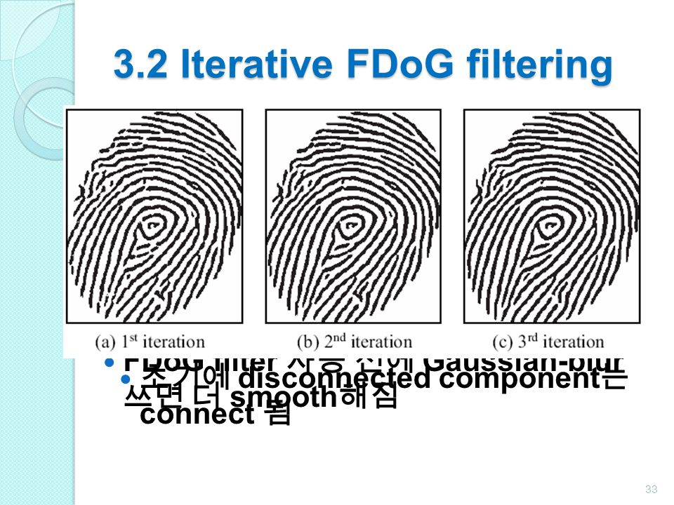 3.2 Iterative FDoG filtering FDoG 에서 파라미터 변경하는 것보다 iterative FDoG filtering 은 line coherence 를 향상에 종종 더 효과 원본 이미지에 (10) 에서 얻은 이미지 중첩시키고 다시 FDoG filter 사용 만족할 때까지 반복 FDoG filter 사용 전에 Gaussian-blur 쓰면 더 smooth 해짐 33 초기에 disconnected component 는 connect 됨